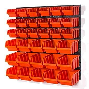 Lot de 37 elements d'étag?re murale 33 x bacs a bec orange