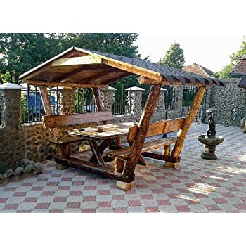 Amazon De Casa Padrino Garten Pavillon Rustikal Mit Tisch Und 2