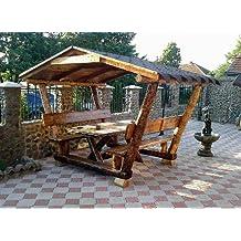 Casa Padrino Garten Pavillon Rustikal Mit Tisch Und 2 Gartenbänken   Eiche  Massivholz   Überdachtes Gartenmöbel