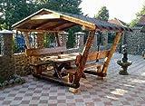 Casa Padrino Garten Pavillon Rustikal mit Tisch und 2 Gartenbänken - Eiche Massivholz - Überdachtes Gartenmöbel Set Echtholz Massiv Pergola