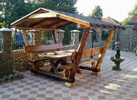 Casa Padrino casa padrino rustic gazebo with table and 2 garden benches solid