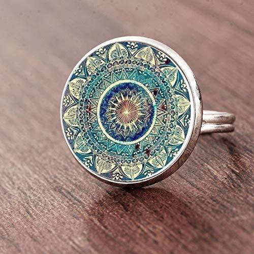Handbemalter Buddhismus Chakra Henna Glas Kuppel Cabochon Ring Om Yoga Mandala Ringe für Frauen Ethnischer indischer Schmuck