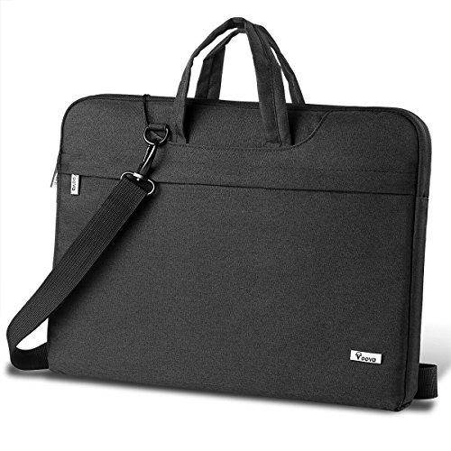 Voova Laptoptasche 14 15 15.6 Zoll Wasserdicht Notebooktasche Laptophülle mit Abnehmbarer Schultergurt Laptop Umhängetasche Kompatibel mit Notebook, Ultrabook, MacBook (Schwarz)