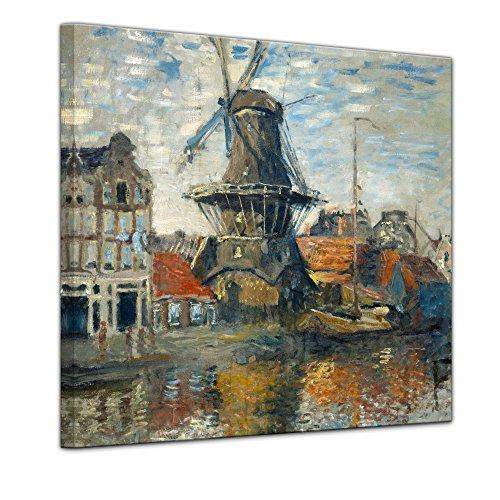 Bilderdepot24 Kunstdruck - Alte Meister - Claude Monet - Windmühle am Onbekende Kanal, Amsterdam - 40x40cm Einteilig - Leinwandbilder - Bilder als Leinwanddruck - Bild auf Leinwand - Wandbild