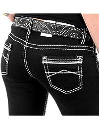 Stylische Damenjeans von Cipo & Baxx Jeans Regular Fit Stretch mit weißen Nähten schwarz