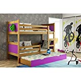 JUSThome LEON Cama juvenil infantil Litera con cajones con cama adicional (LxBxH): 190x85x150 cm Aliso Morado