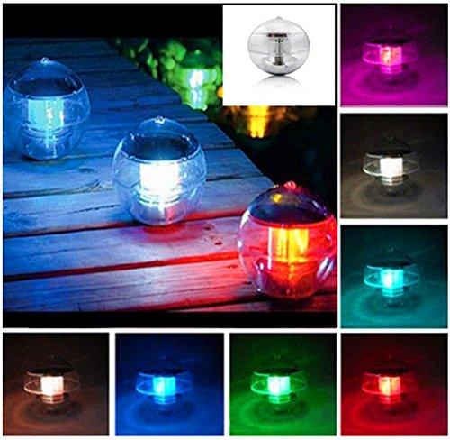 kuaetily 2pcs Solar LED Schwimmkugel Wasserlicht Kugelleuchte Solarkugeln Farbwechsel Schwimmleuchte Set - Gartenlampe