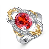 YAZILIND Promise Anillo Flor Oval Rojo Cubic Zirconia Rhinestone...