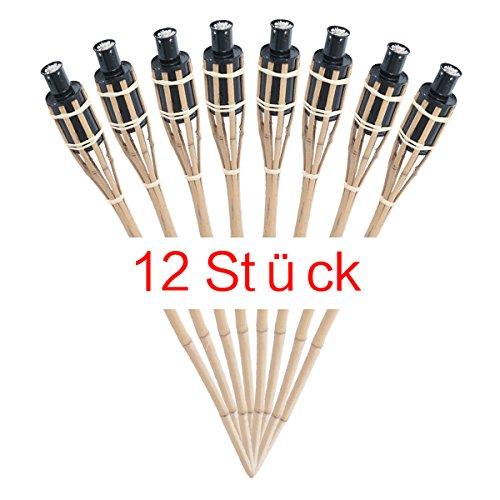 RMAN Gartenfackel Bambus Bambusfackel Garten Fackel Öllampen mit Sturmverschluss Dochtschutz 90cm,12 Stück