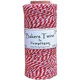 Hemptique - Bobina de hilo de algodón (125 m, 50 g), color rojo y blanco