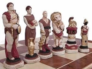 Magnifico, di qualità, intarsiato in legno e marmo set di scacchi, SPARTACUS vs ROMANI