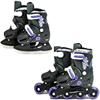 SK8 Zone Girls Purple 2in1 Roller Blades Inline Skates Adjustable Size Childrens Kids Pro Combo Multi Ice Skating Boots Shoes New