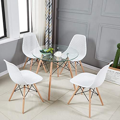 H.J WeDoo Tavolo da Pranzo Rotondo di Vetro, Tavolo da Cucina in Stile  Scandinavo con 4 Gambe in Legno di faggio, Stile Nordico, 80 x 75 cm