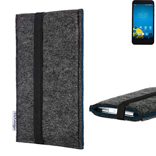 flat.design Handyhülle Lagoa für Vestel 5000 Dual-SIM | Farbe: anthrazit/blau | Smartphone-Tasche aus Filz | Handy Schutzhülle| Handytasche Made in Germany