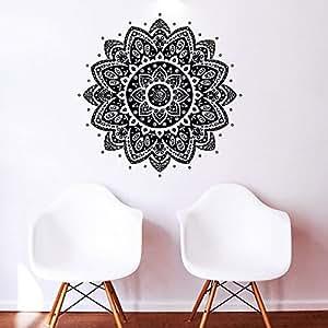 sticker mural motif g om trique floral indien motif namaste tapis de yoga motif fleur marocain. Black Bedroom Furniture Sets. Home Design Ideas