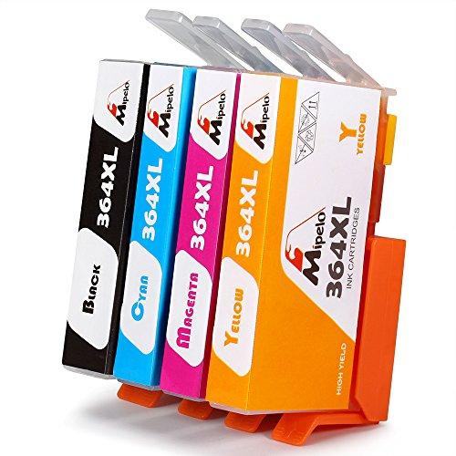 Mipelo Compatibili HP 364XL Cartucce d'inchiostro, 4 Colori (1 Nero, 1 Ciano, 1 Magenta, 1 (Magenta Originale Della Testina Di Stampa)