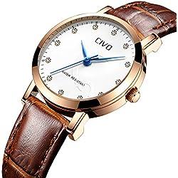 CIVO Reloj de Cuero para Mujeres Impermeable Reloj Clásico Moda Diseñador Retro Relojes de Pulsera Caballeros Deportivo Chicas Adolescente Vestido Viaje Reloj Simple para Mujere Marrón