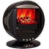 Bakaji Camino Caminetto Elettrico da Tavolo con Fuco Finto Simulato 2000W Silenzioso Design Retrò, Stufa Oscillante da terra Fire Bowls