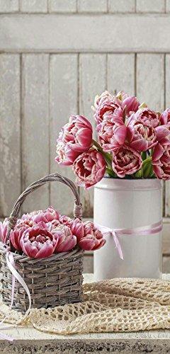 Banner - Thema: Frühling / Sommer - Altrosa Tulpen - 180cmx90cm - zum Hängen & Dekorieren