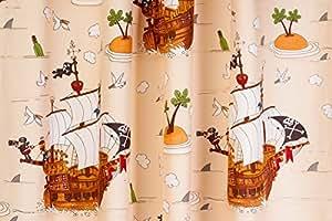 kinderzimmer gardine vorhang kindergardine piratenschiff natur doppelpack 200 cm lang. Black Bedroom Furniture Sets. Home Design Ideas