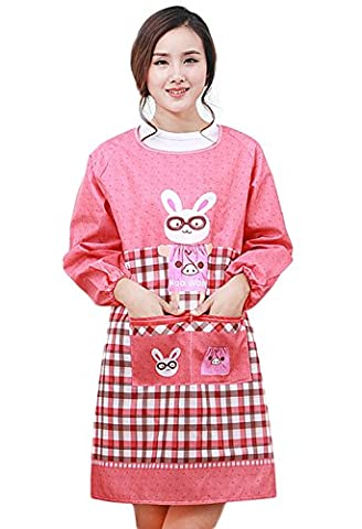 Moolecole Home Kitchen Apron Adult Overalls for Women with Pockets Winter Waterproof Fashion Rabbit Long Sleeved Cotton Twill Gowns Household Dust Pinafore