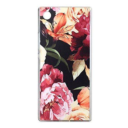 Sony Xperia XA1Case, Crystal Clear Schutzhülle mit Design Violett Rose Blumen Muster Print Bumper Schutzhülle für Sony Xperia XA1TPU Silikon Schutzhülle Blumen Cover für Mädchen, Rot (Mobile Sony-handys Boost)