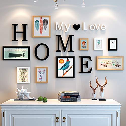 MUZIDP Kreativ Wohnzimmer Fotowand, Massivholz Multi-Bild Foto-Frame-Kombination,Home Office Foto-Rahmen-Wand-Set-D (Große Foto-frame)