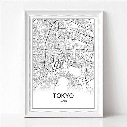 TIANLIANG Retro Paris Frankreich Stadtplan Kraftpapier Poster Vintage Wohnzimmer Wand Kunst Handwerk Sticker Bar Cafe Design Schiff 53 X 38 cm, Tokio, Auf Leinwand 60 X 40 cm.