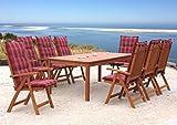 Gartenmöbel 17tlg mit 200cm Tisch Terrassenmöbel Santos Rubinrot