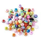 300 Stück Acryl Perlen Mehrfarbig Rund Zum Gestreiften Perlen Bastelperlen für Armbänder (Perlen 8MM)