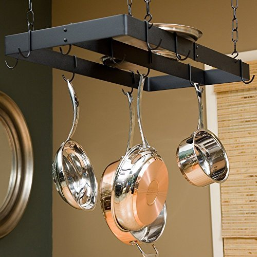 The Gourmet Rectangle Pot Rack with Center Bar by Rogar - Rogar Bar