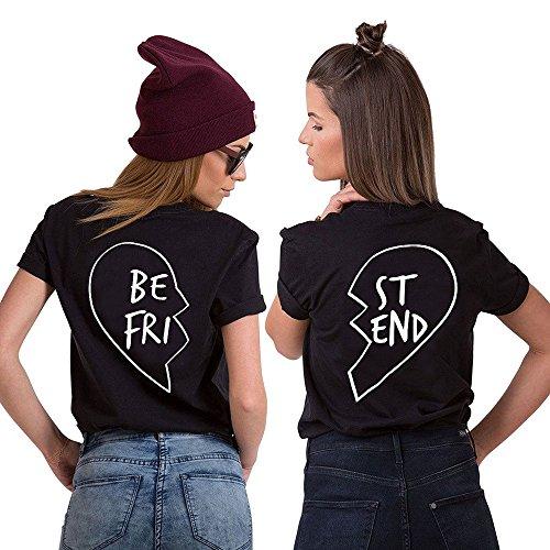 JWBBU Best Friends Sister T-Shirt mit Aufdruck Halb-Herz für Zwei Damen Mädchen Sommer Weiß Schwarz Oberteil Geburtstagsgeschenk 2 Stücke (M+St-S, Schwarz) (Kleidung Beste)