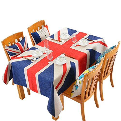 Bolanq, tovaglia con motivo bandiera britannica in cotone spesso e lino, morbida, cotone e lino, come mostrato, taglia libera