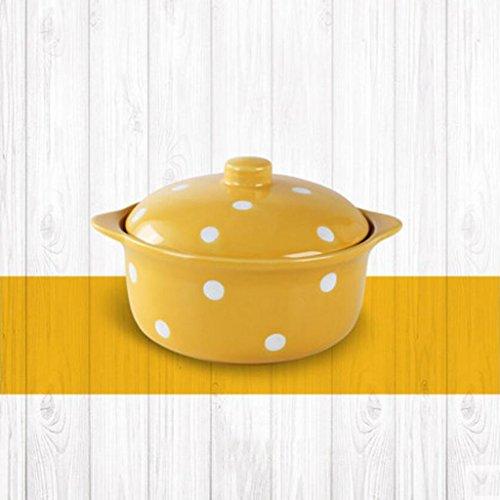 Liuyu Kitchen Home Wave Point Céramique avec couvercle Soupe Bowl Home Salad Bowl Vaisselle Lovely Face Bowl Dessert Bowl Soup Basin 400ml (Couleur : Le jaune)