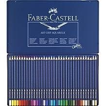 Faber-Castell 114236 - Estuche de metal con 36 ecolápices triangulares acuarelables Art Grip, lápices para adultos