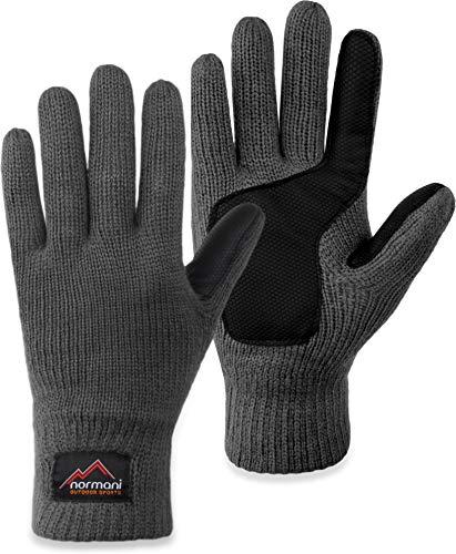 normani Strick Fingerhandschuhe Winterhandschuhe mit 3M™ Thinsulate™ - Silikonhandinnenfläche und Fleeceinnenmaterial für Damen und Herren Farbe Grau Größe M