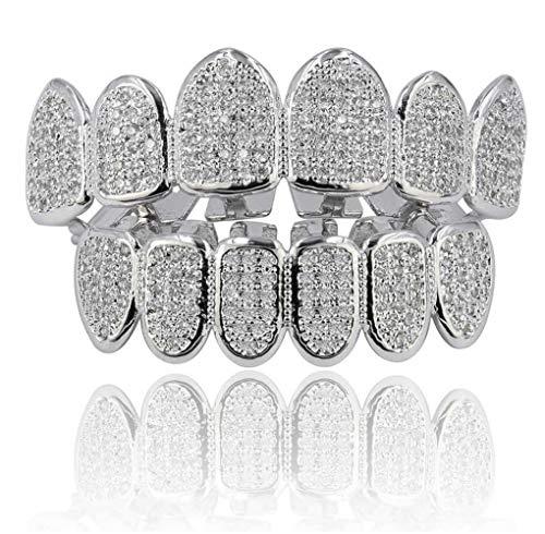 L&H Hip Hop Teeth Grill Set Microset Diamond Braces Vampire Zähne Grillz BBQ Mode Schmuck Männer und Frauen Paint Gifts,Silver (Grillz Gold Diamant Zähne)