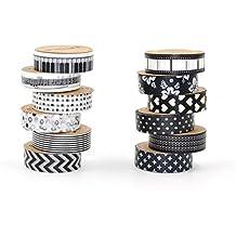 Negro y Blanco Cinta adhesiva con estampado, DIY 15mm x 10m Cinta Adhesiva Decorativa, Deco japonés papel Washi cinta de carrocero para Manualidades, Álbumes de fotos, día planificadores, decoración y diseño, Set de 12rollos