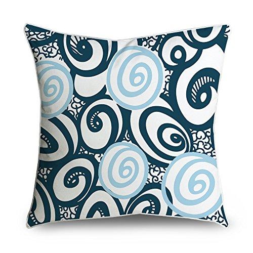 fabricmcc wirbelt Kreis auf Navy Blue Square Accent dekorativer Überwurf-Kissenbezug 18x 18 -