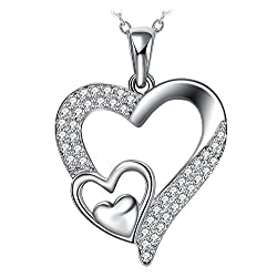 """Collier, ZHULERY Argent 925 Bijoux Femme/Fille Pendentif idéal 5A Zirconium cubique, Chaîne 45+5cm Cadeau avec paquet exquis Amour"""" Cadeau Saint Valentin"""""""