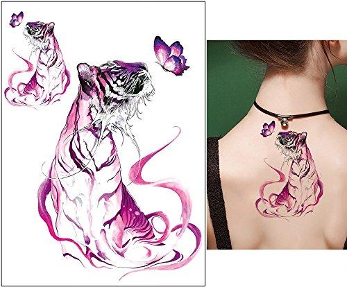 Tiger Tattoo Tier Tattoo Wasserfarben Tattoo Aufkleber KM175 Tiger pink