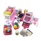 Spielzeugkasse mit Zubehör, Spielgeld und Einkaufswagen/Kasse