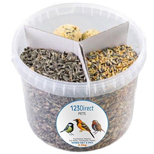 2.5 Kg - Mélange 3-en-1 unique de graines pour oiseaux sauvages| Cœurs de tournesol de Qualité + 10 boules de suif énergétiques et riches en matières grasses + graines de tournesol de qualité