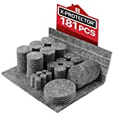 Fieltro adhesivo X-PROTECTOR - Almohadillas de fieltro 181 piezas. -Todos los tamaños de fieltro autoadhesivo para muebles - Protectores de piso premium para muebles - ¡Protege tus pisos de madera!