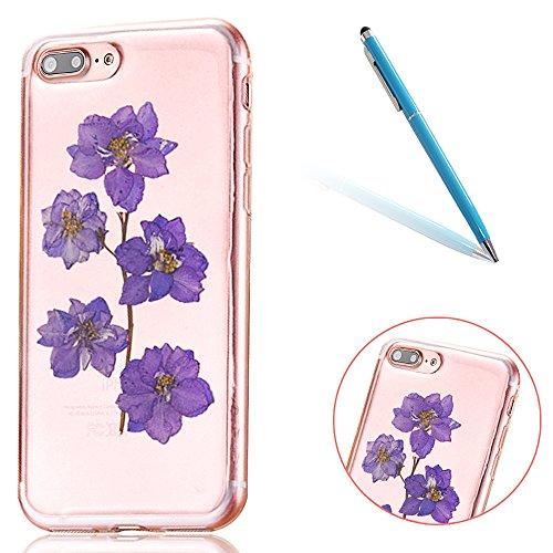 """iPhone 7Plus Schutzhülle, iPhone 7Plus Soft TPU Handytasche, CLTPY Modisch Durchsichtige Rückschale im Getrocknete Blumenart, [Stoßdämpfung] & [Kratzfeste] Full Body Case für 5.5"""" Apple iPhone 7Plus ( Floral 15"""