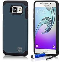 Samsung Galaxy A3 (2016) SM-A310 Armadura Funda Carcasa protectora Slim Armour de Doble Capa Anti Golpes de 32nd®, incluye lápiz optico - Azul Pizarra