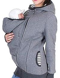 LONUPAZZ Manteau De Grossesse Femme Uni Sweat à Capuche Kangourou Zipper  Maternité à Rayures Porte BéBé e3bec9e67fd