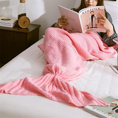 HENGSONG Meerjungfrau Decke, Handgemachte Häkeln Decke Meerjungfrau Schwanz für Erwachsene, Mermaid Blanket Schlafsack (Rosa)