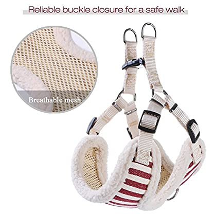 PETBABA Christmas Dog Harness, Soft Fleece Vest Warm Puppy in Winter, Front Clip Provide No Pull Choke Free Walk, Bow… 4