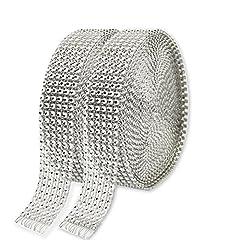 Idea Regalo - KAKOO 6 File Rotolo di Diamante Scintillante ad Una Griglia a Rete Nastro Argento Multiuso per Decorazione Matrimonio Torta Compleanno Festival,9,1 m, confezione da 2 pezzi.